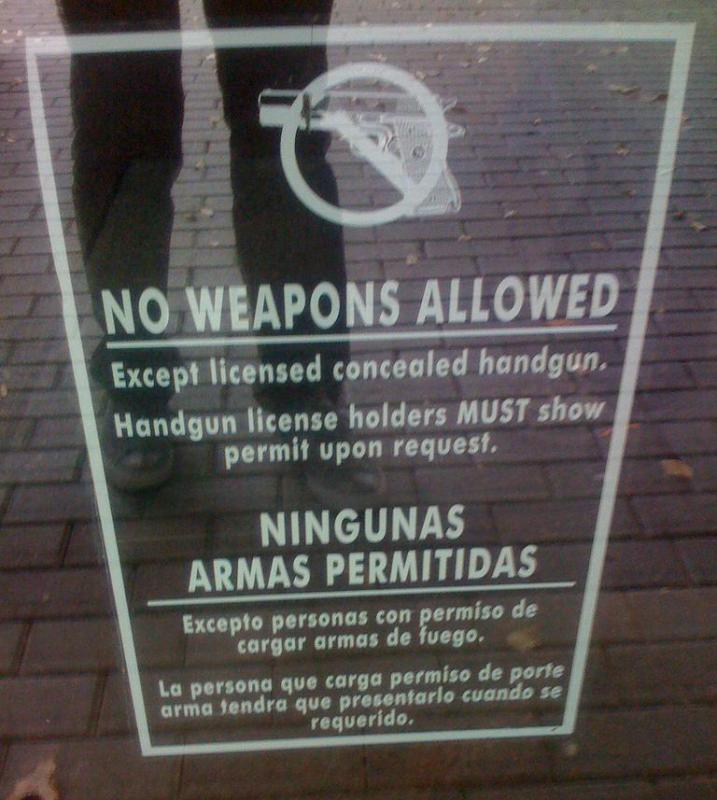 Some locations may be designated as gun-free zones.