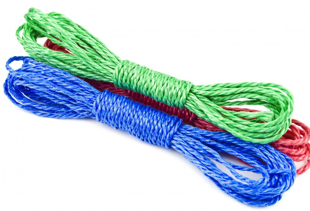 Ski ropes are made of thick nylon.