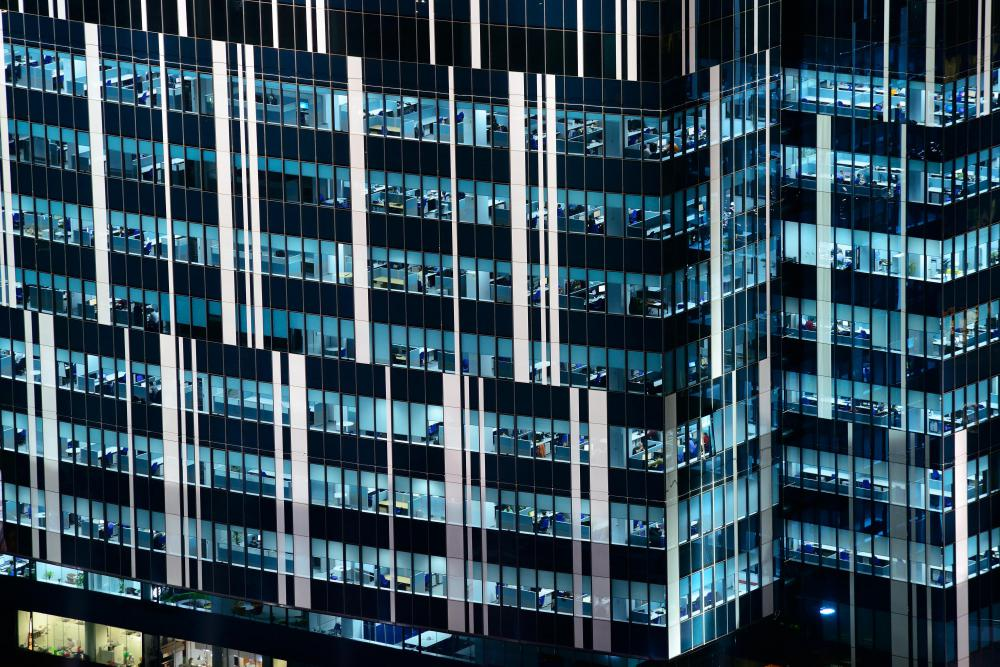 Energy-efficient tinted glass is also a design feature of many modern office buildings.