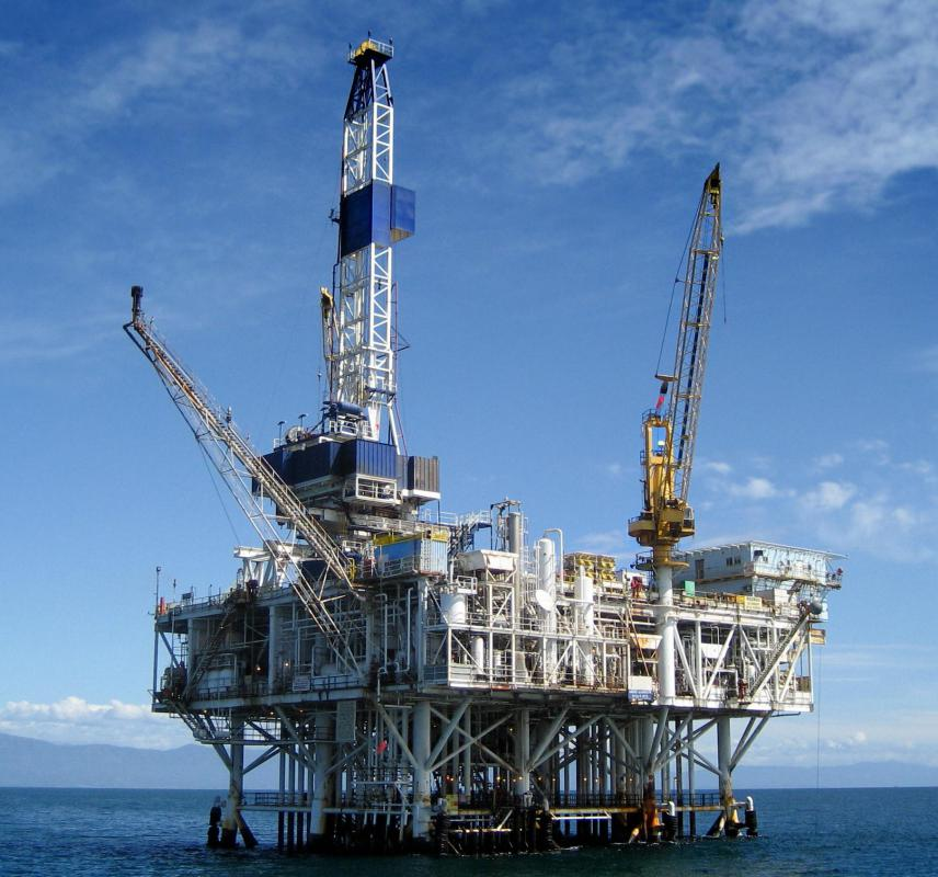 Oil drilling rig.