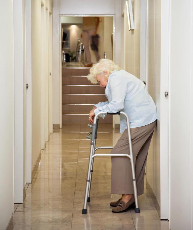 During rehabilitation, a patient may move from using a walker to a cane.