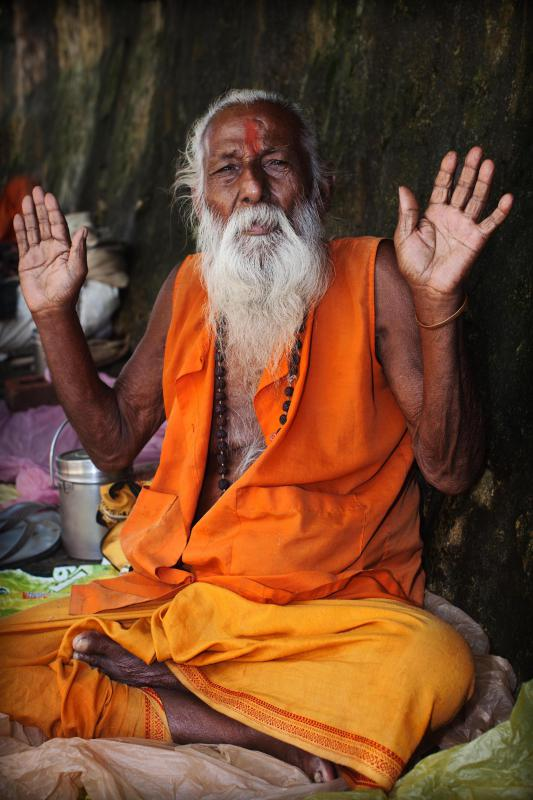 In the Hindu caste system, Brahmins are priests and scholars who study the sacred Vedic texts.