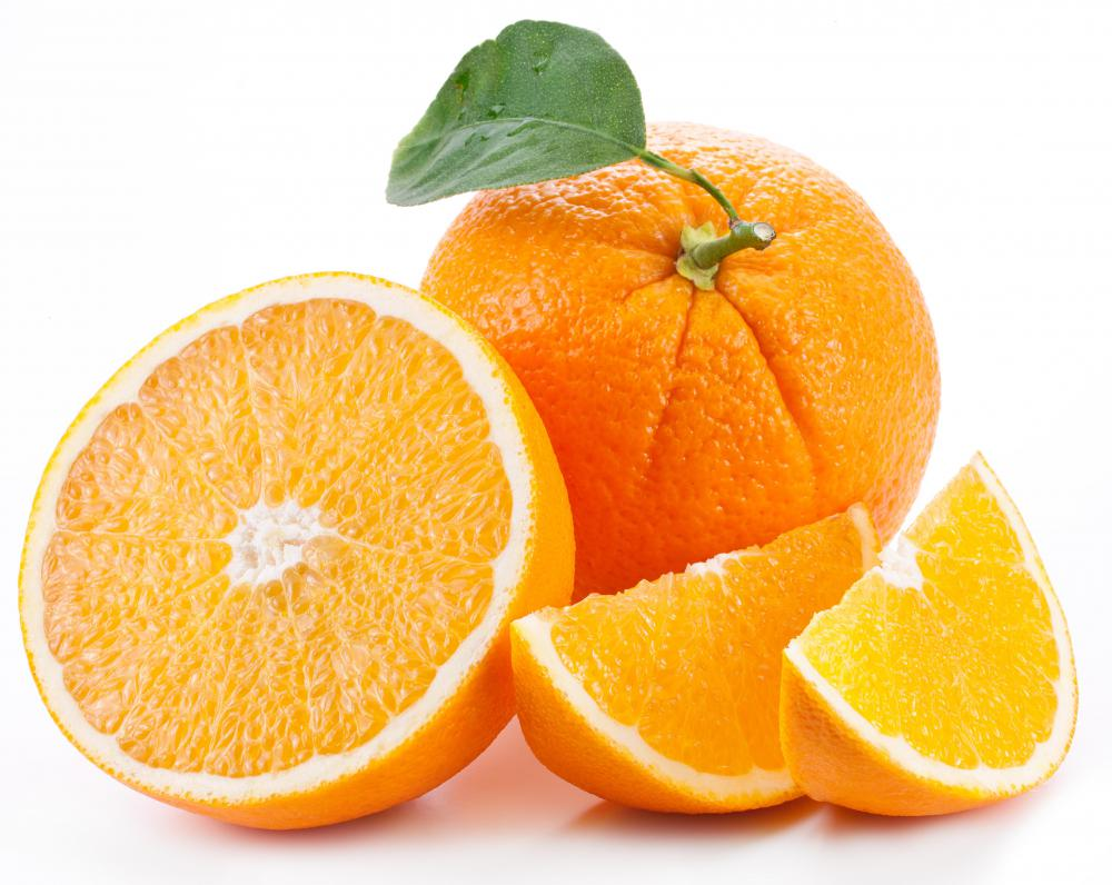 Oranges are high in fiber and also rich in vitamin C.
