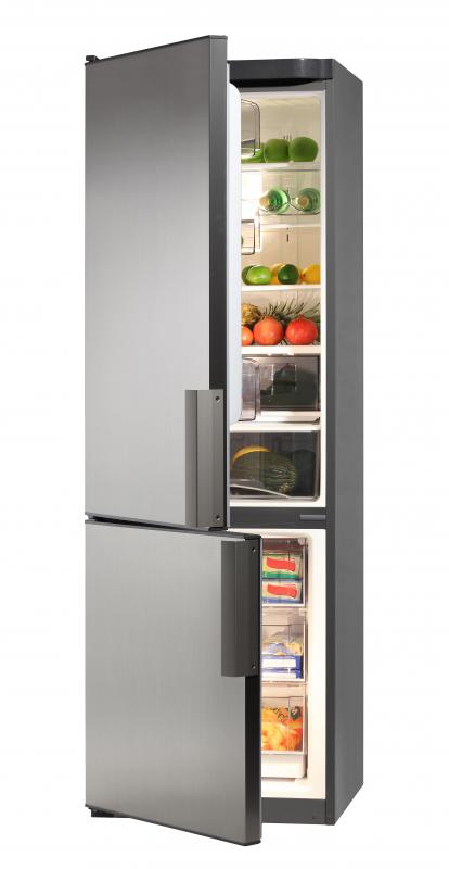 A refrigerator contains a heat exchanger.
