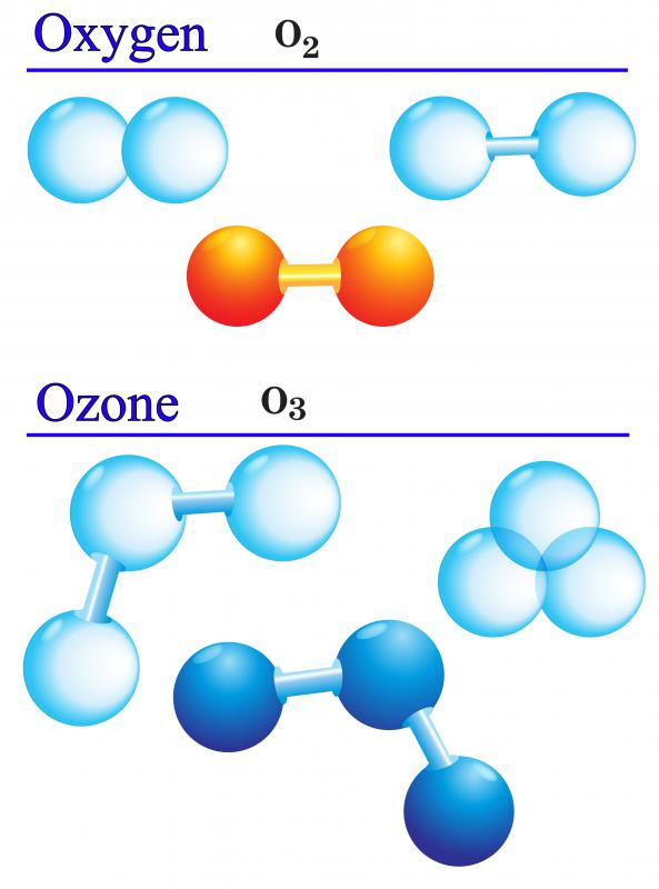 Ozone is made of three oxygen atoms.