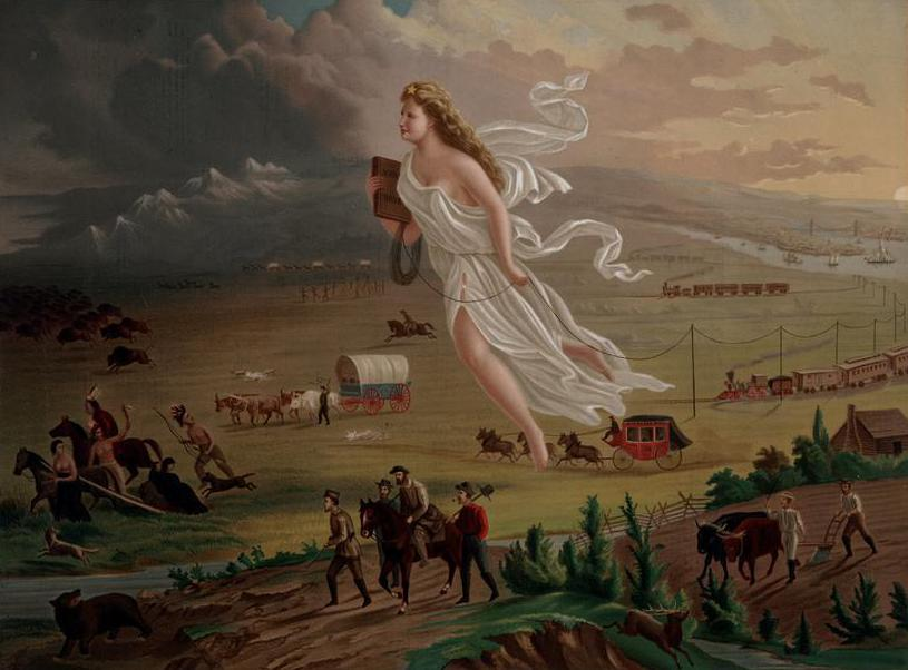 Many American settlers believed that their westward expansion was divinely guided, as portrayed in period art.
