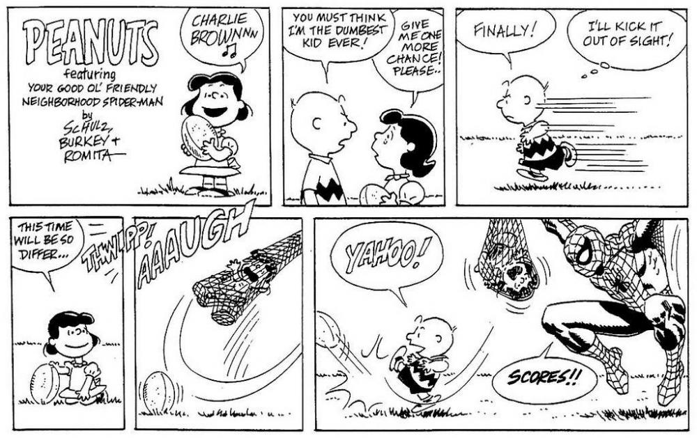 Speech bubbles may be seen in the Peanuts comic strip.