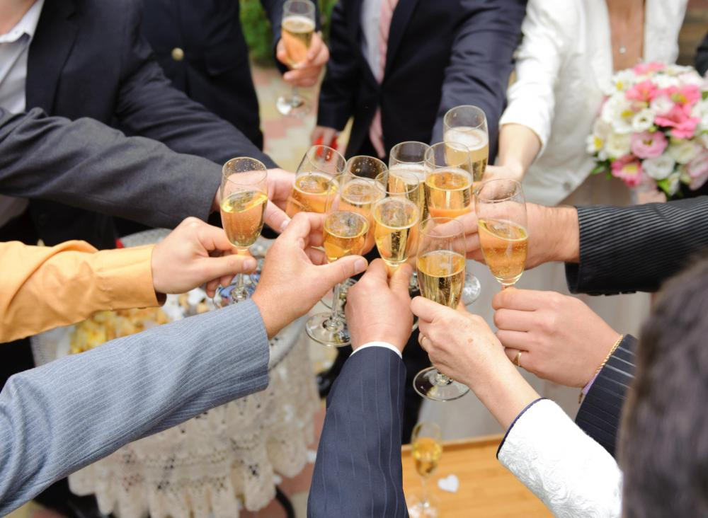 A yacht wedding may include plenty of champagne for guests.