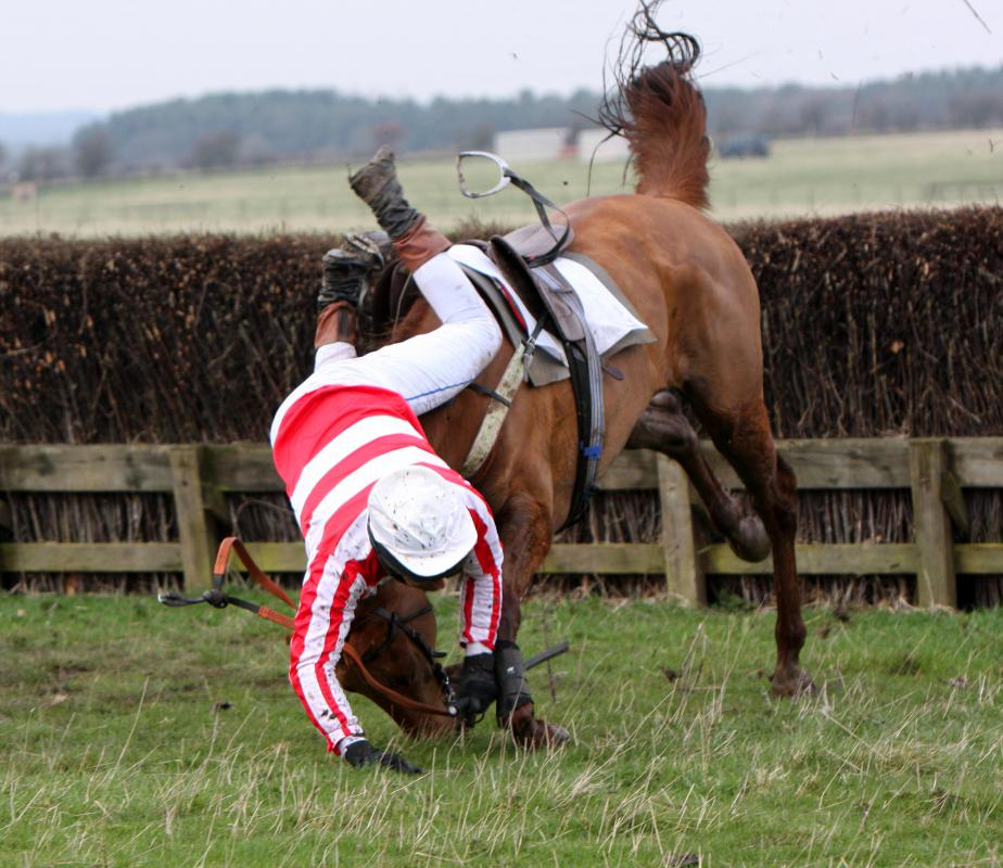 A horse racing jockey is at constant risk of falling from the horse and sustaining trauma to the brain.