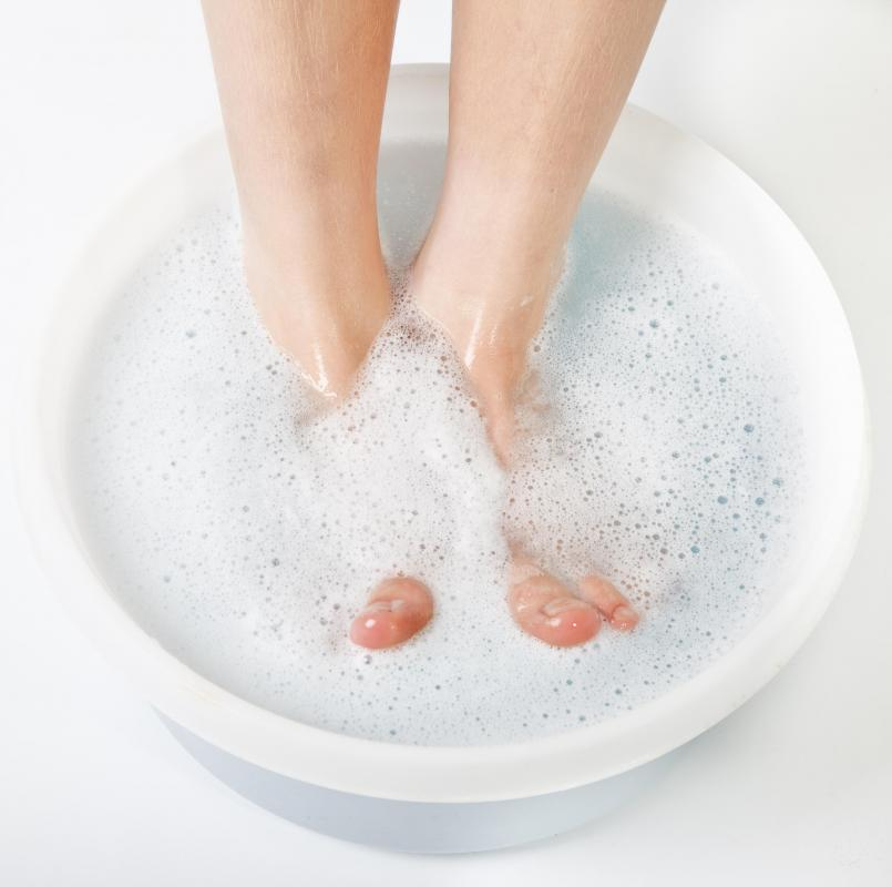 Certain concetrations of hydrogen peroxide may be used to soak the feet.