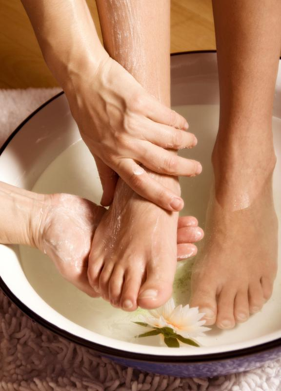 Immersing a foot in warm water with salt may help treat ingrown toenails.