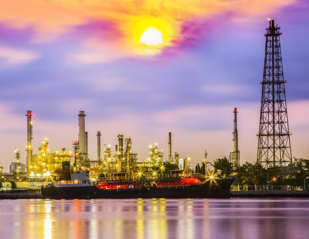 Petrochemical processing facilities often are located next to oil refineries.