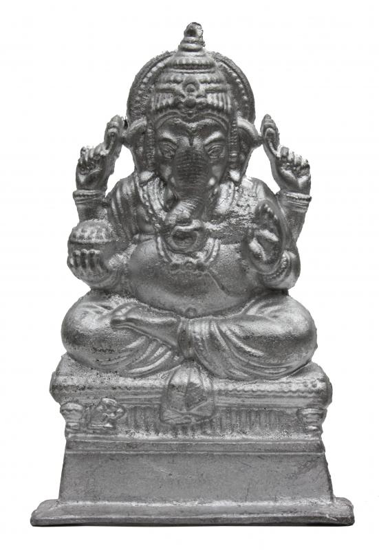 Pewter figurine of Ganesha, the son of Shiva, one of the Hindu trinity.