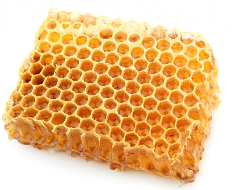 Piece of honeycomb, which contains beeswax.