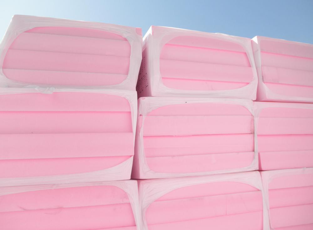 Styrofoam insulation is normally used on exterior walls.