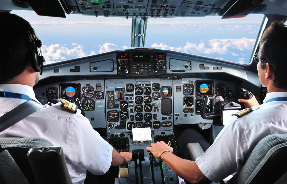 Commercial airliners usually have two pilots and, on older models, a flight engineer, though backup crews may be used on long haul flights.