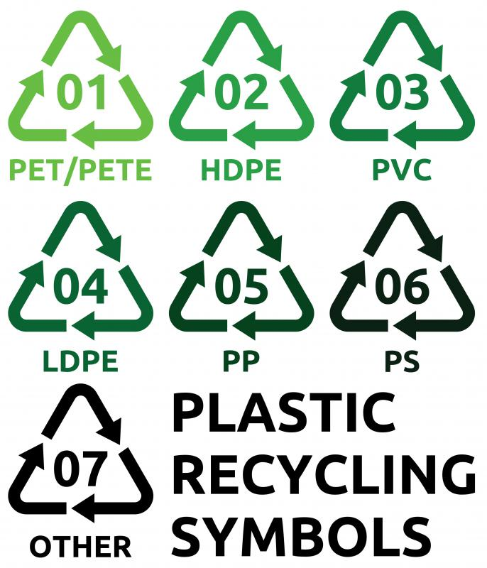 Plastic containers often come with a numeric symbol that makes them easier to sort when recycling.