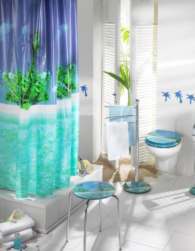 Plastic shower curtain made from polyvinyl chloride.