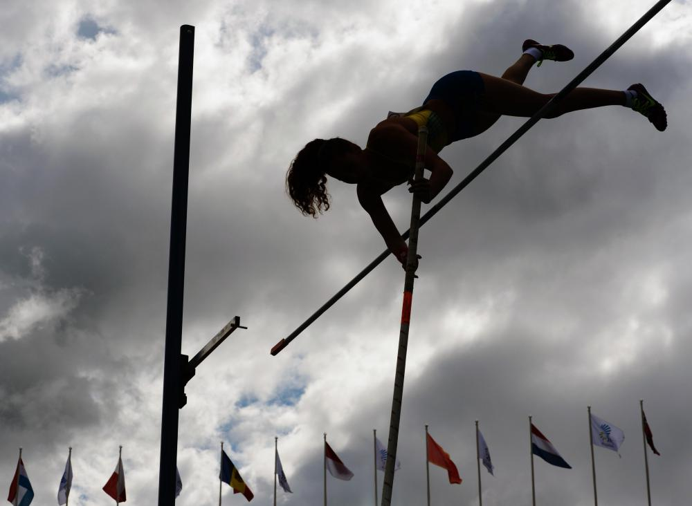 Track and field games may include pole vaulting.