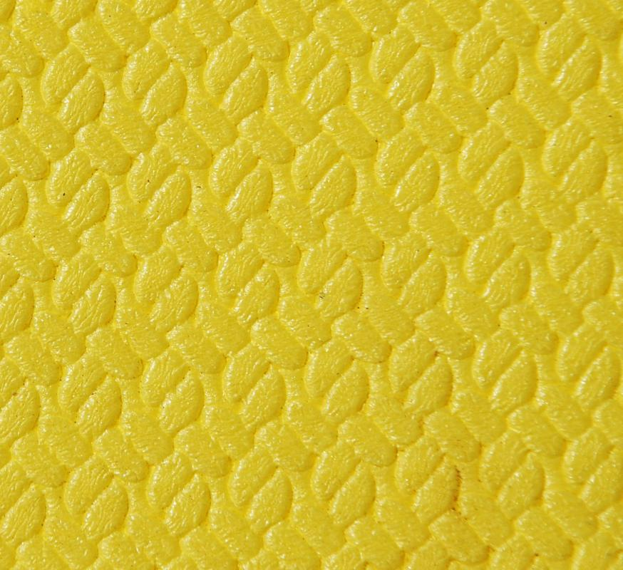 A yellow mat made of polyurethane.