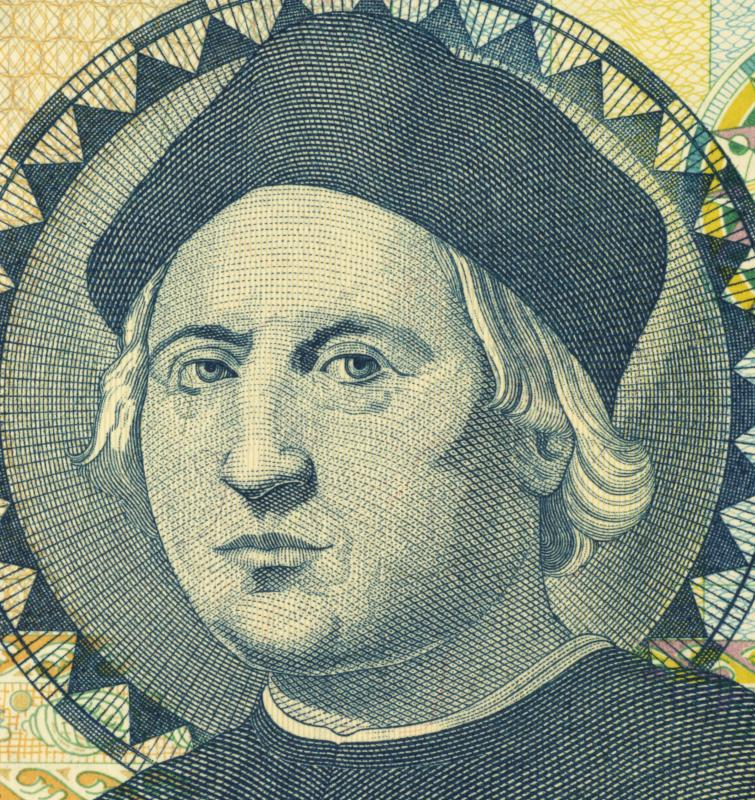 A portrait of Christopher Columbus, who used the system of encomienda on the island of Hispaniola.