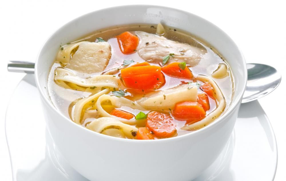 Old fashioned chicken soup is always a good cure for ailments.