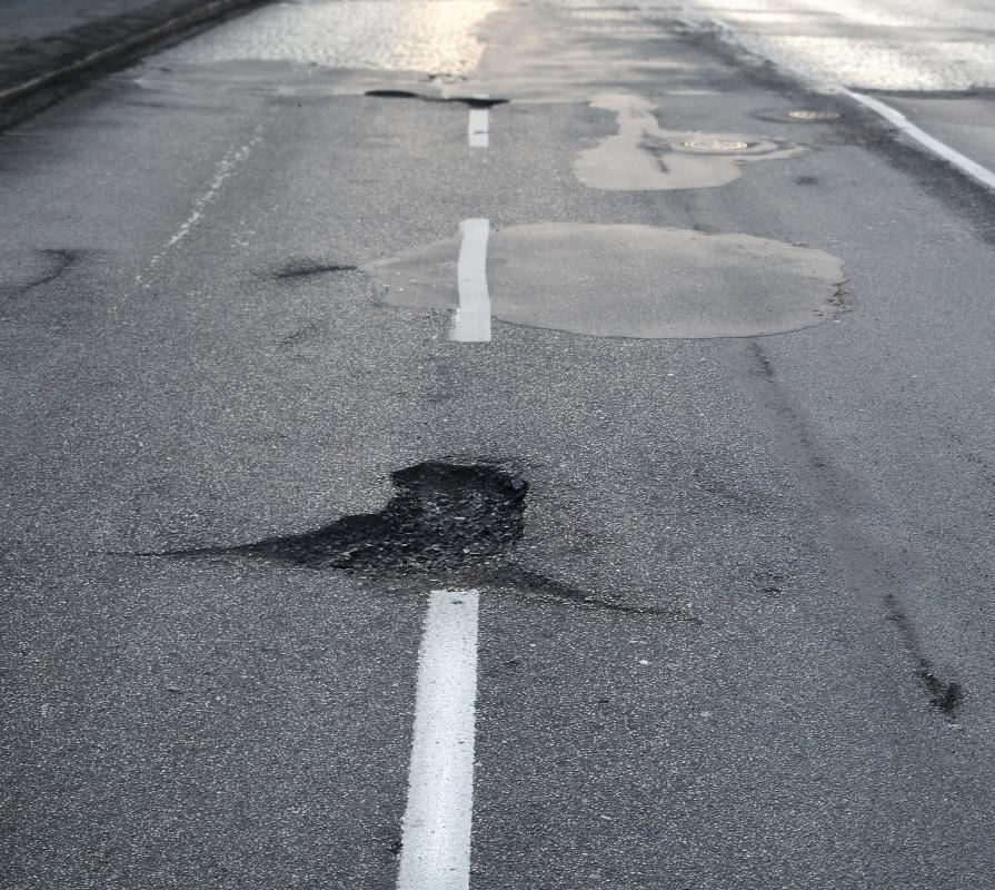 Potholes can cause severe tire damage.