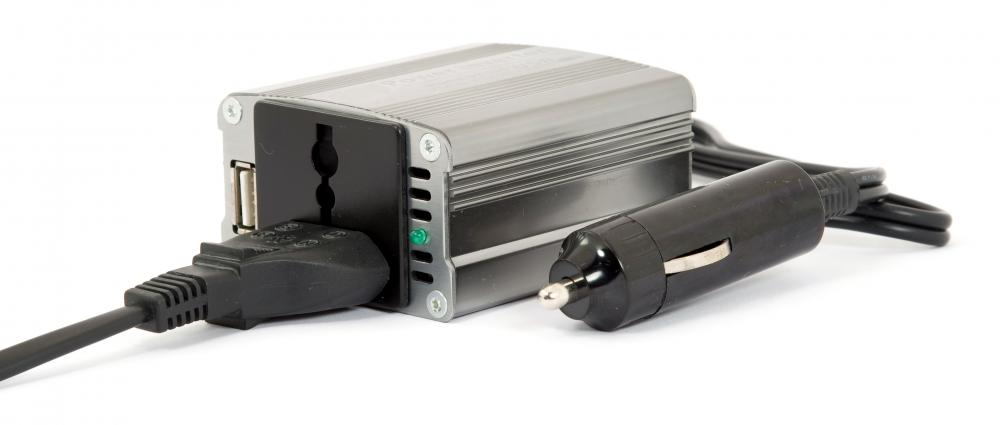 A power inverter, which can be used to convert DC to AC.