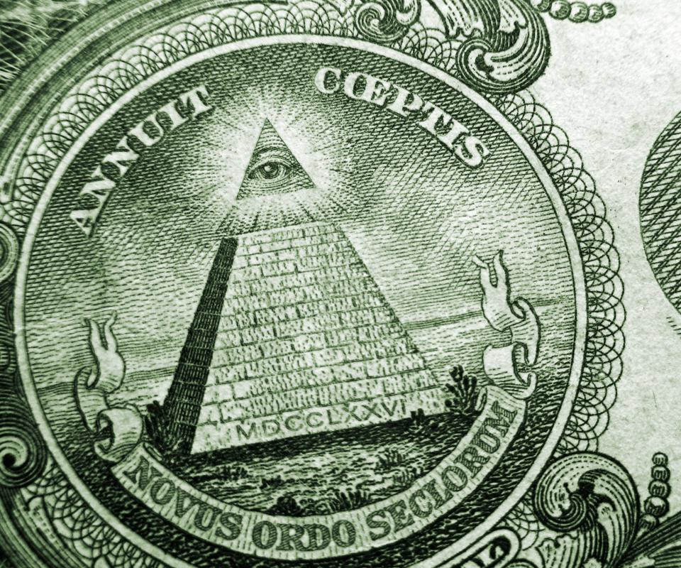 Eye above the pyramid on the US one dollar bill.