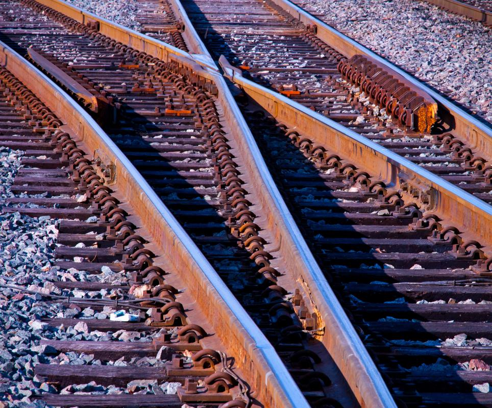 A stock rail is a fixed component in a track switch, with other rails moving around and against the stock rail to direct trains along various tracks.