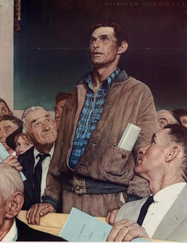 Norman Rockwell paintings, such as those in the Four Freedoms series, illustrated traditional American values.
