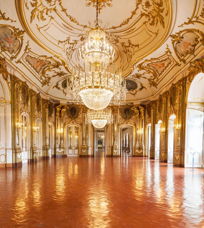 Rococo architecture mostly focuses on the interior of a building, such as the ballroom of Portugal's Queluz National Palace.