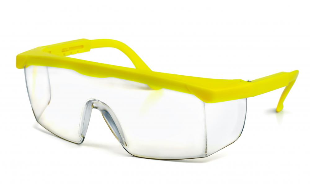 Safety goggles typically are used to protect the eyes from chemical and particle exposure.