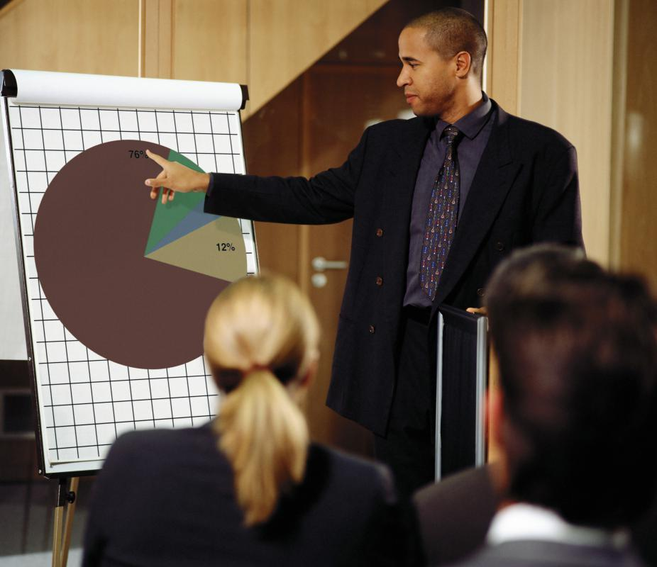 Charts and other visuals are often incorporated into a business presentation.