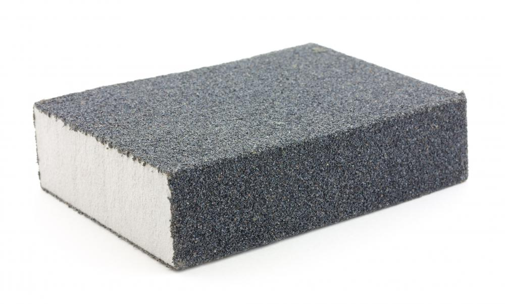 A sanding sponge is used for wet sanding.