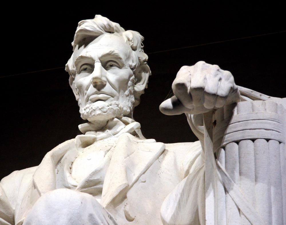 Sculpture of Abraham Lincoln, President of the United States from 1861 to 1865.