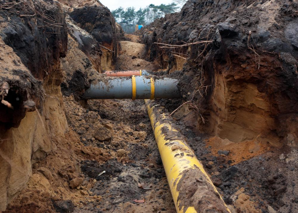 The most common design for a sanitary sewage system involves a series of pipelines that run from buildings into larger underground facilities that are sometimes known as trunk mains.