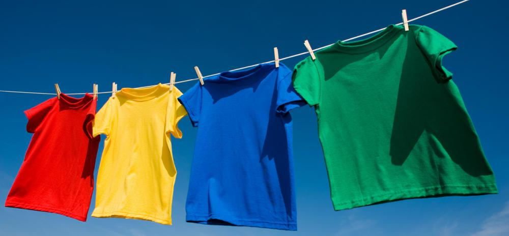 Shirts on a clothes line.