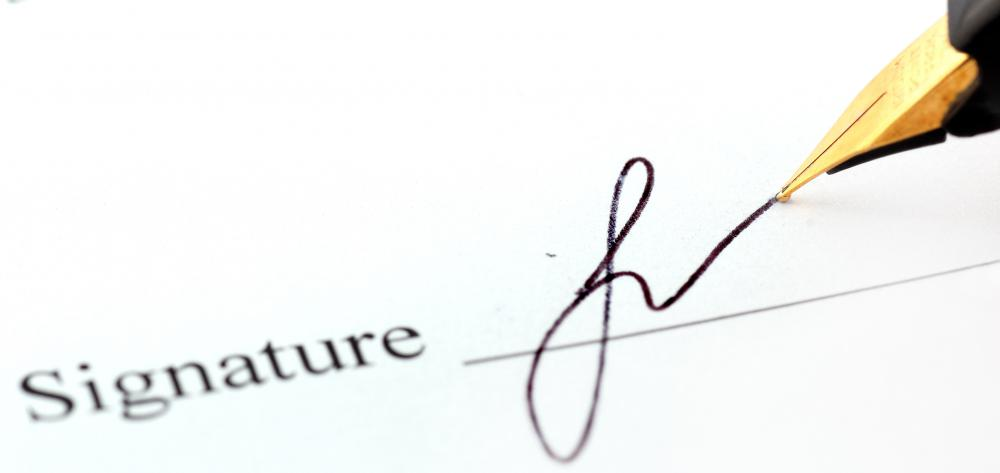 Binding contracts require all parties to add their signature.