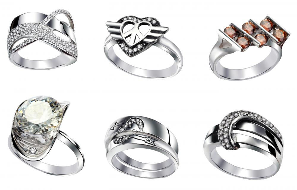White gold rings, which often look better on people with cool skin tones.