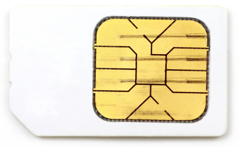 A SIM card, like that used in a GSM phone.