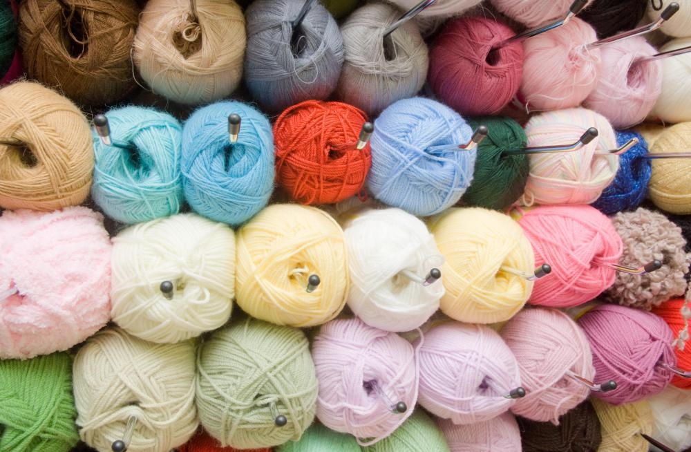 Novelty yarn varies in color and texture.