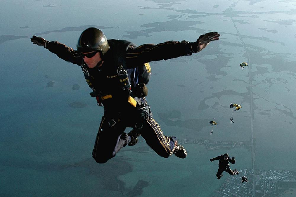 Some extreme ironists have pressed clothing while skydiving.