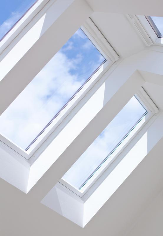 Skylight windows allow a lot of natural light to come into the room.