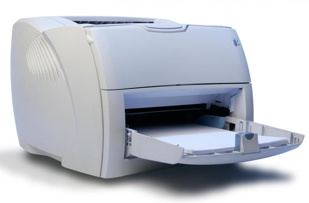 A printer may be connected to a computer via a USB printer port.
