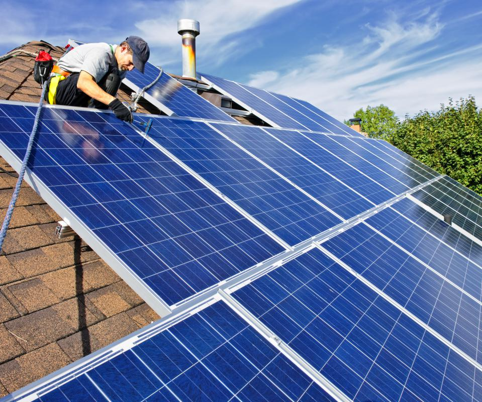 Solar panels convert the ultraviolet radiation in sunlight into electricity.