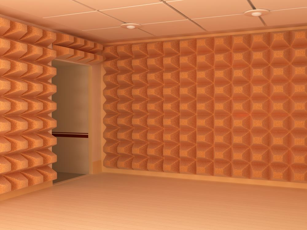 Soundproof room with acoustic insulation.