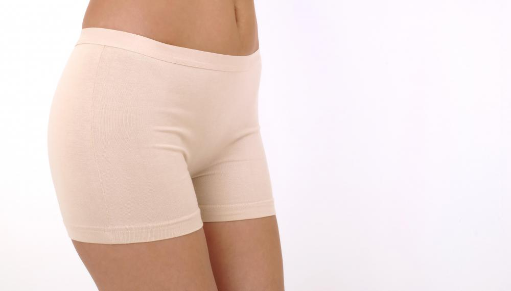 Certain types of undergarments can be worn to lend a sleek appearance to a flabby stomach.