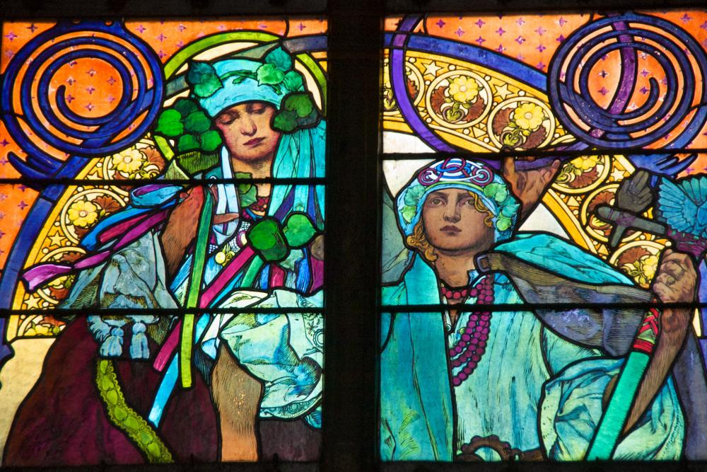 Stained glass is a prized medium in art noveau.
