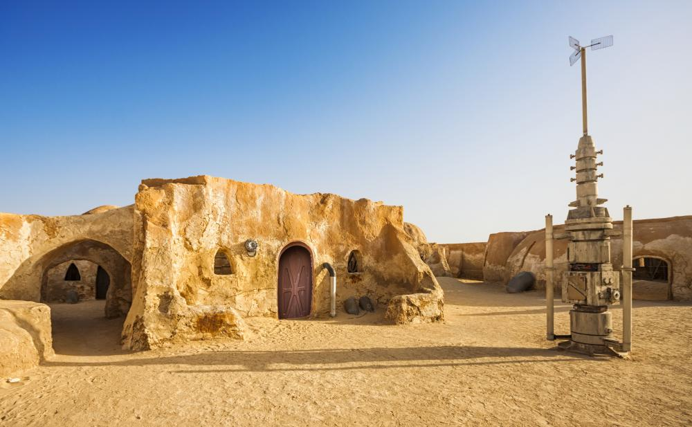 The film industry often takes productions to foreign sets, as what happened when George Lucas filmed the desert scenes from Star Wars in Tunisia.